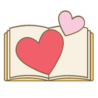 An open book with hearts above it