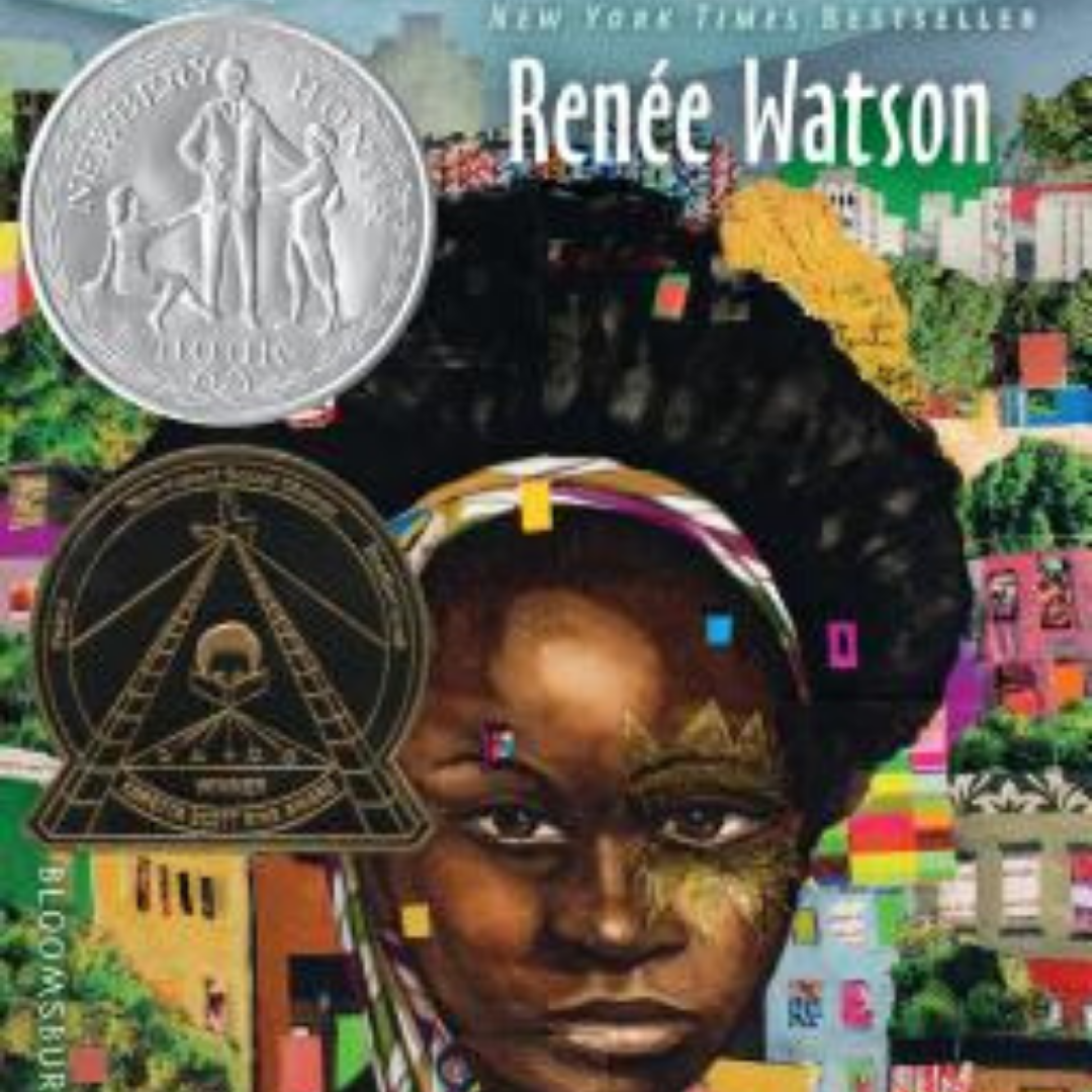 Image: A dark-skinned child in front of what seems to be a collage of a city. Newbury Award Seal. Coretta Scott King Author Award Seal. Text Reads: New York Times Bestseller Renee Watson.