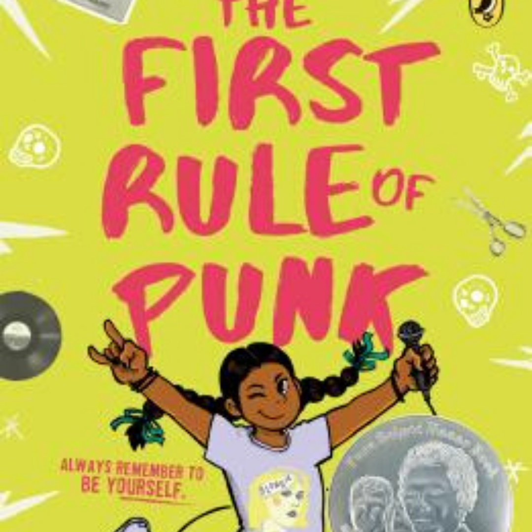 Image: Child with long, brown braids holds out a microphone with one hand an holds up the first and pinky finger of the other hand. Text reads: The First Rule of Punk: Always Remember to be Yourself