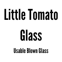 Text: Little Tomato Glass Usable Blown Glass