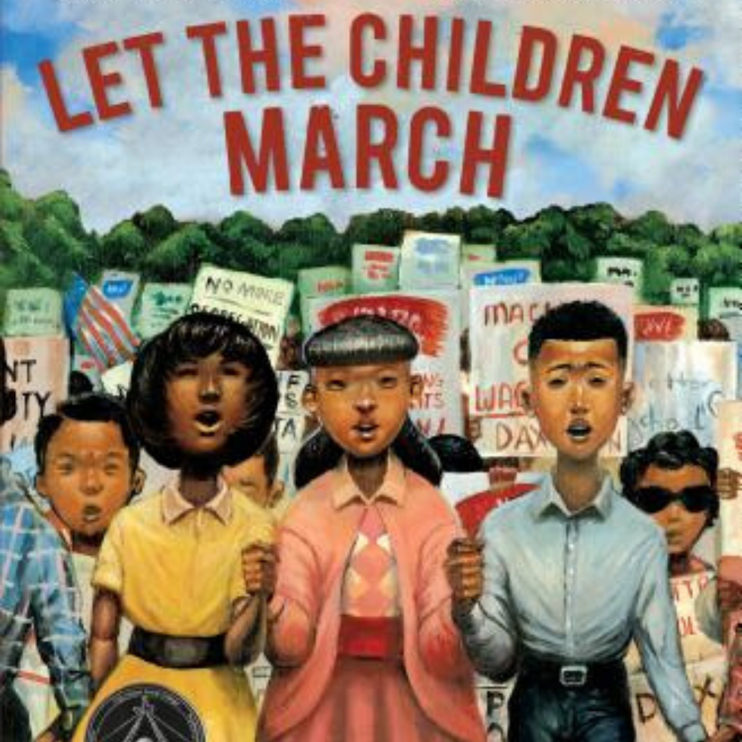 Image: A group of children marking side-by-side, in front of protest signs, with many different emotions on their faces. Text Reads, Let The Children March.
