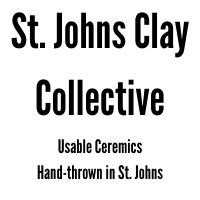 Text: St. Johns Clay Collective Usable Ceremics Hand-thrown in St. Johns