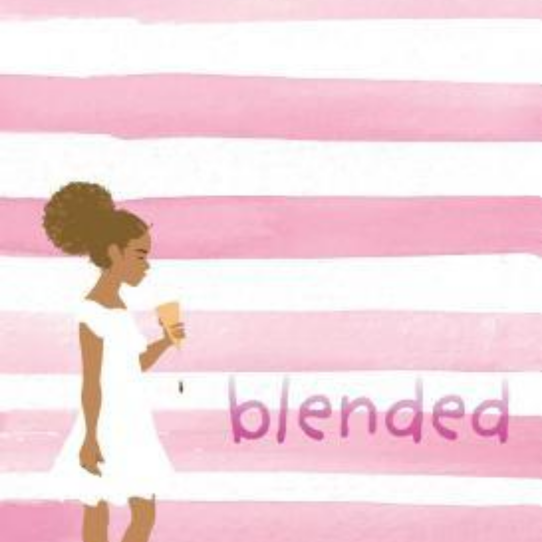Image: A watercolor painting of a brown skinned girl with brown hair pulled up on the back of her head in a white dress, standing in front of white and pink stripes. Text reads: blended