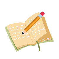 An open book with writing and a pencil